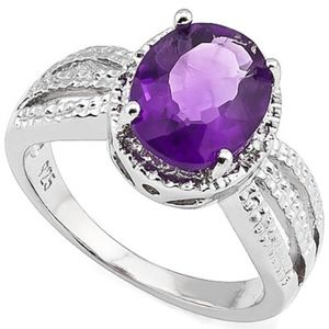 Ring 2.60 Ct Amethyst & Diamond Sterling Silver
